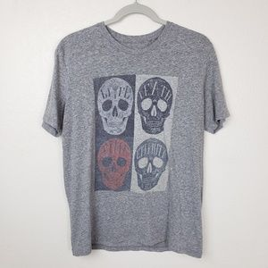 Lucky Brand Men's Grey Mori Skulls Tee Shirt
